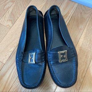 Fendi vintage black gold loafers EU 36,5
